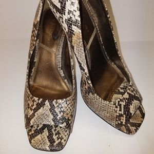Tahari Snake Skin Peep Toe Heels